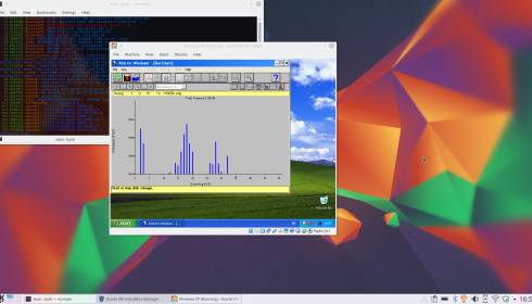 The Spectra RGA For Windows software running on a virtual Windows XP machine.