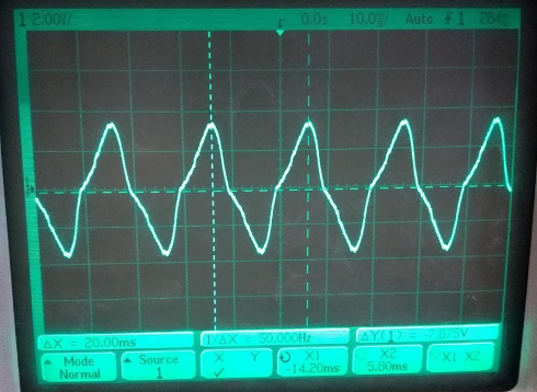 The crappy waveform from the Pulse Electronics BV 020-5427.0 230 V to 18 V AC transformer.