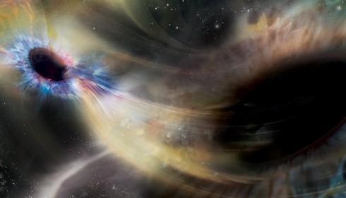 Binary black hole merger artistic impression.