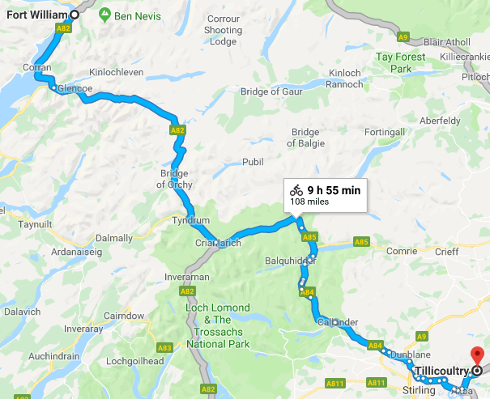 Tony Parsons' likely intended route.