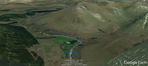 Possible diversions taken by Parsons along the West Highland Way.
