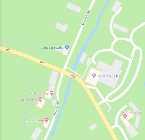 Map of Tyndrum's north west side.